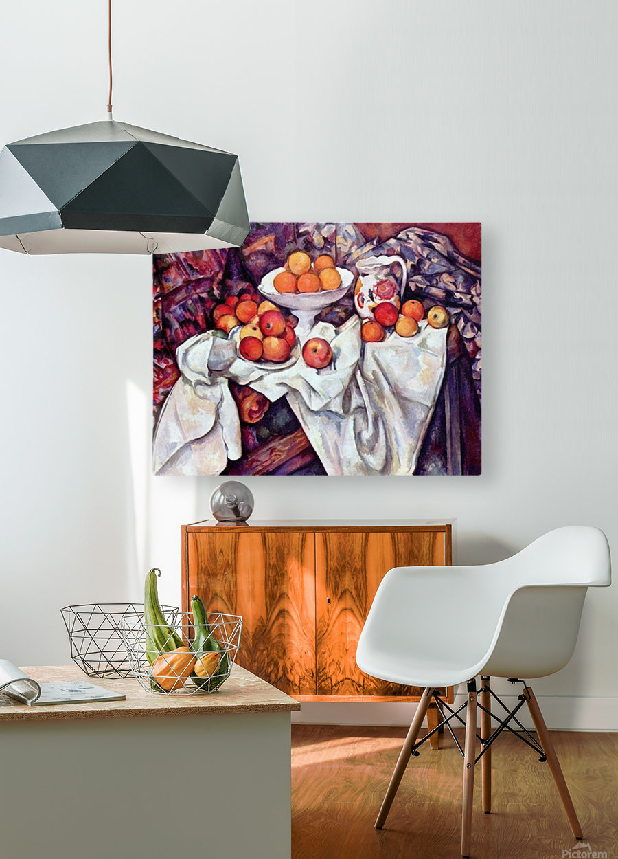 Still Life with Apples and Oranges by Cezanne  HD Metal print with Floating Frame on Back