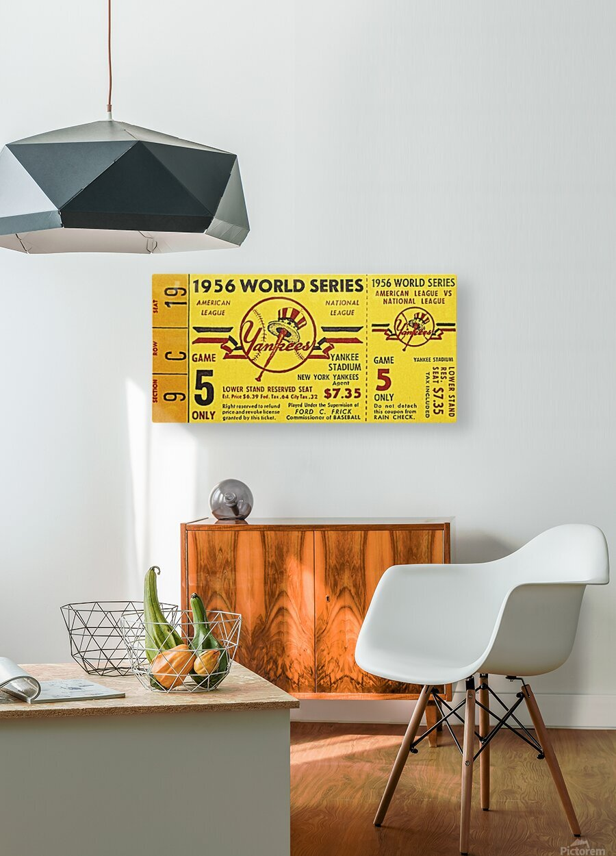 1956 World Series Perfect Game Ticket Stub Art  HD Metal print with Floating Frame on Back