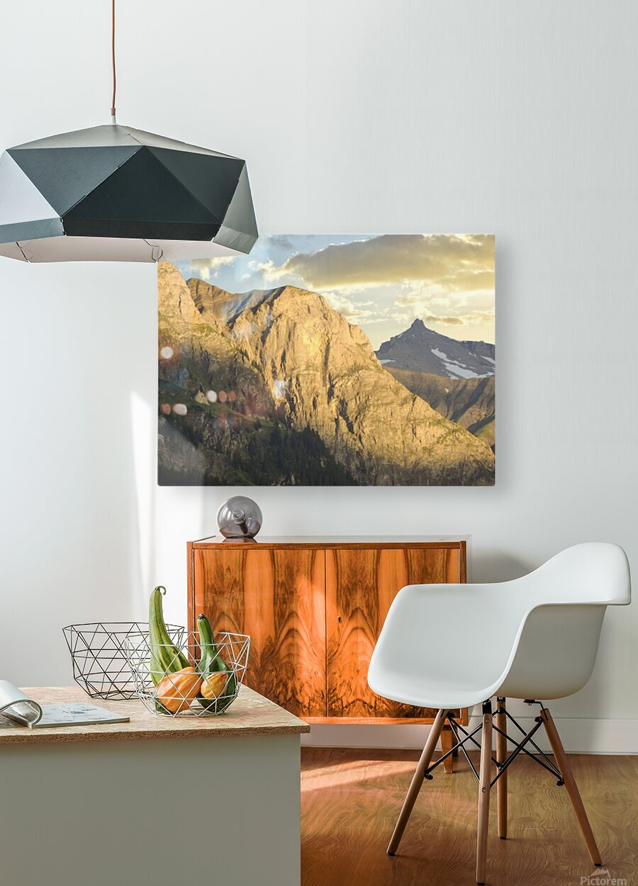 Golden Rays of the Sun on the Swiss Alps in the Bernese Highlands  HD Metal print with Floating Frame on Back