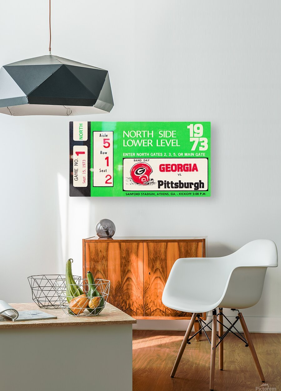 1973 Georgia vs. Pittsburgh Ticket Wall Art  HD Metal print with Floating Frame on Back