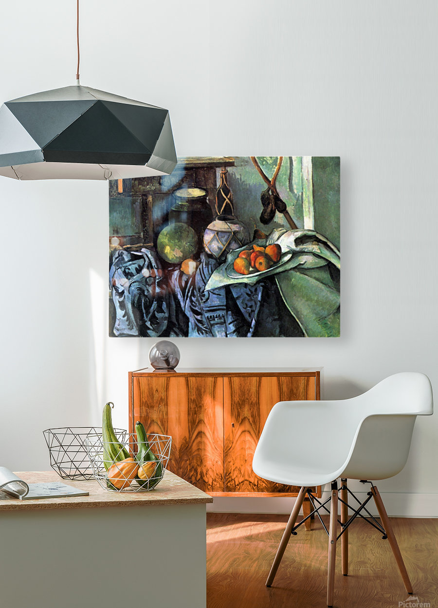 Still life with Eggplant by Cezanne  HD Metal print with Floating Frame on Back