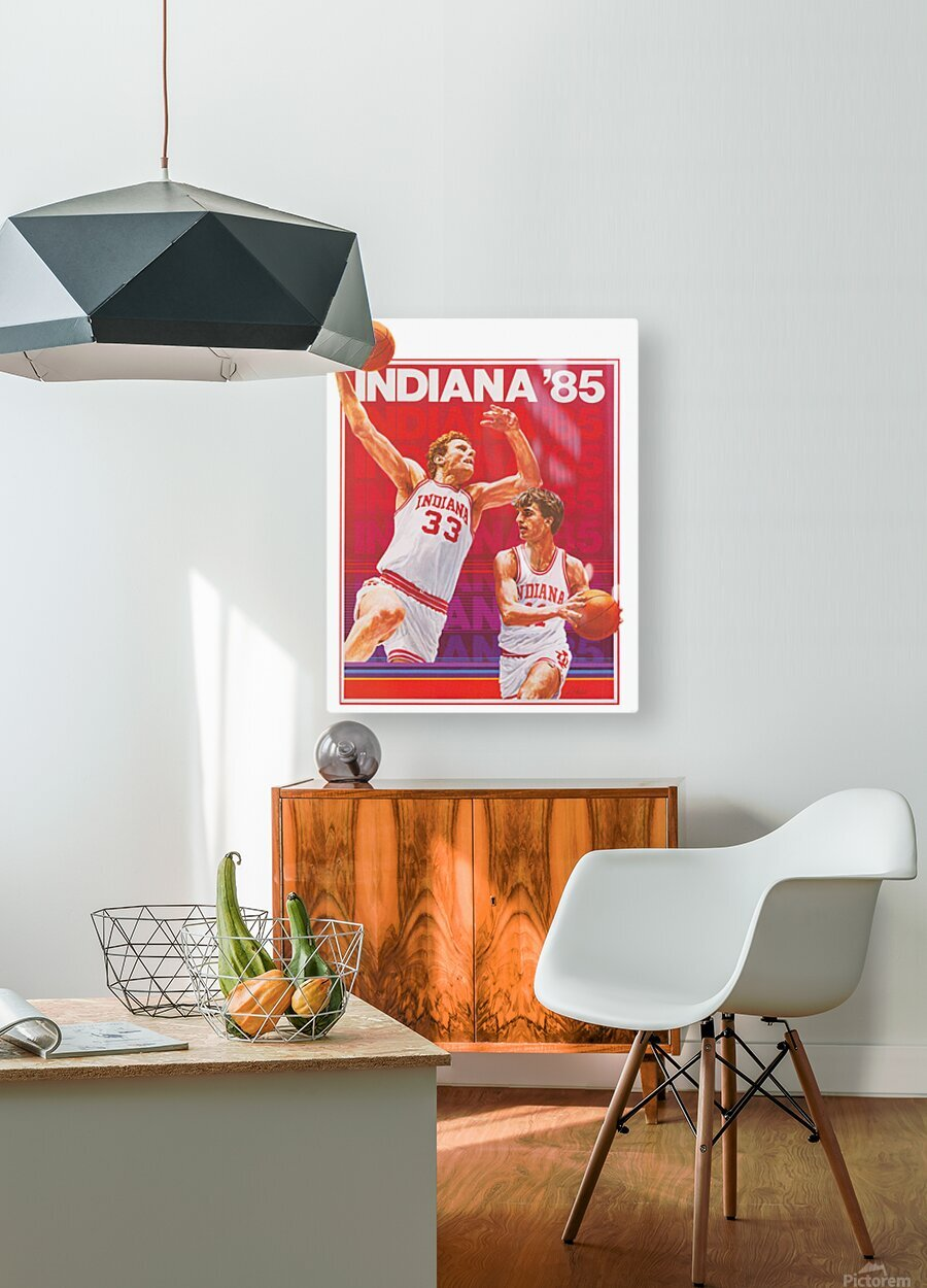 1985 Indiana Hoosiers Basketball Art  HD Metal print with Floating Frame on Back