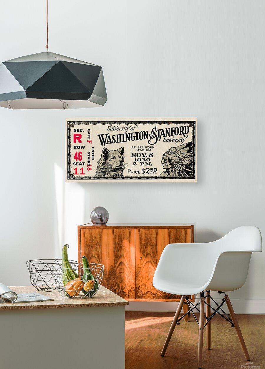 1930 Washington vs. Stanford Ticket Stub Art  HD Metal print with Floating Frame on Back