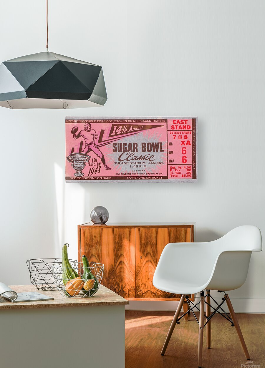 1948 Sugar Bowl Ticket Art Texas Win  HD Metal print with Floating Frame on Back