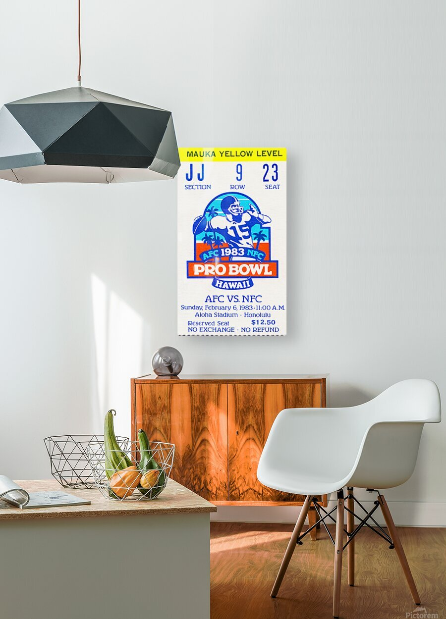 1983 Pro Bowl Ticket Stub Wall Art  HD Metal print with Floating Frame on Back
