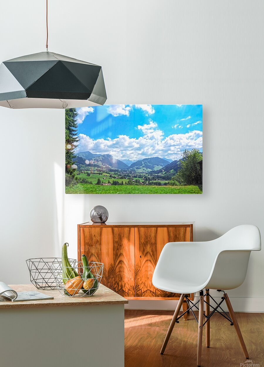 The Last Paradise in a Crazy World Gstaad Switzerland  HD Metal print with Floating Frame on Back