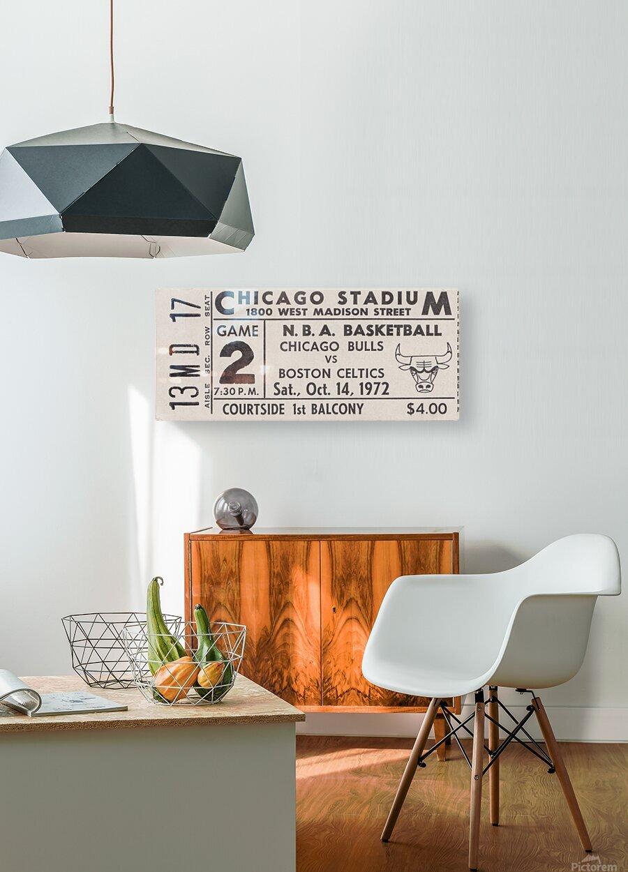 1972 Chicago Bulls vs. Boston Celtics Ticket Stub Art  HD Metal print with Floating Frame on Back