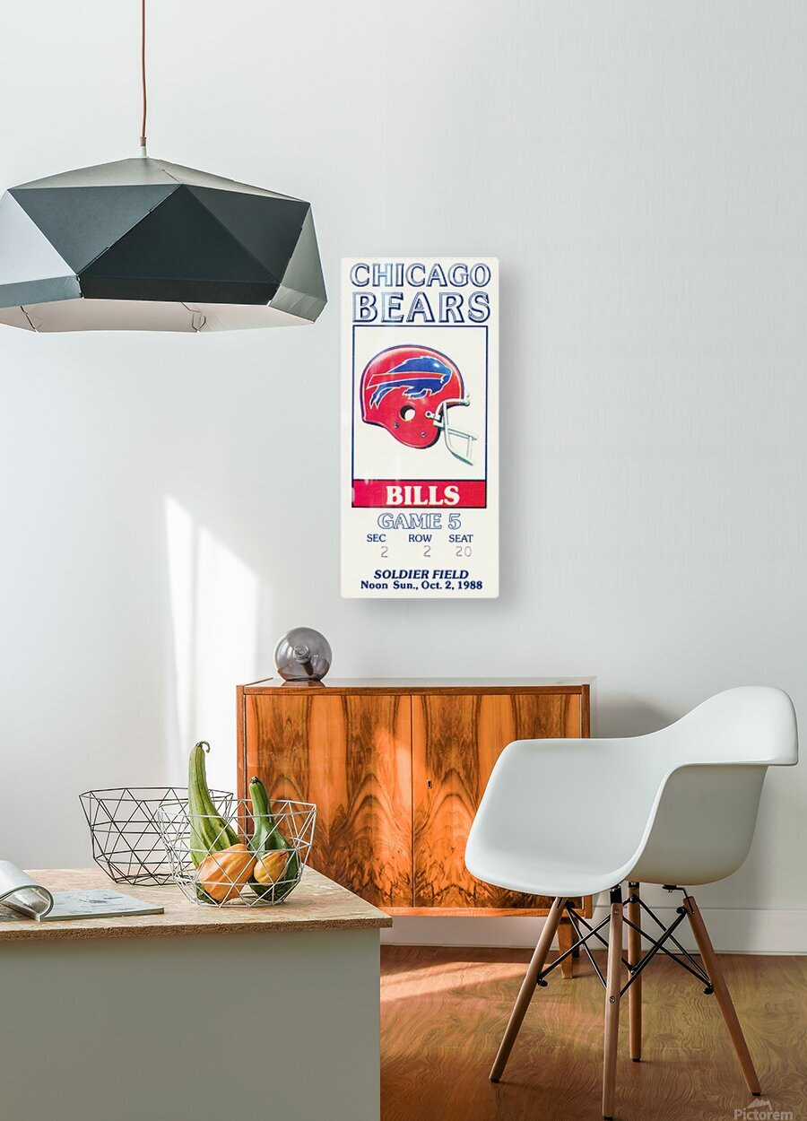 1988 Chicago Bears vs. Bills Football Ticket Art  HD Metal print with Floating Frame on Back