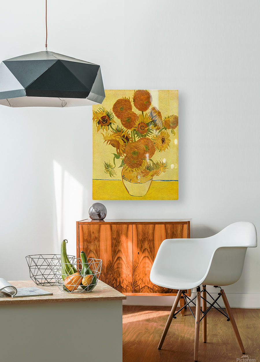 Still life with sunflowers by Van Gogh  HD Metal print with Floating Frame on Back