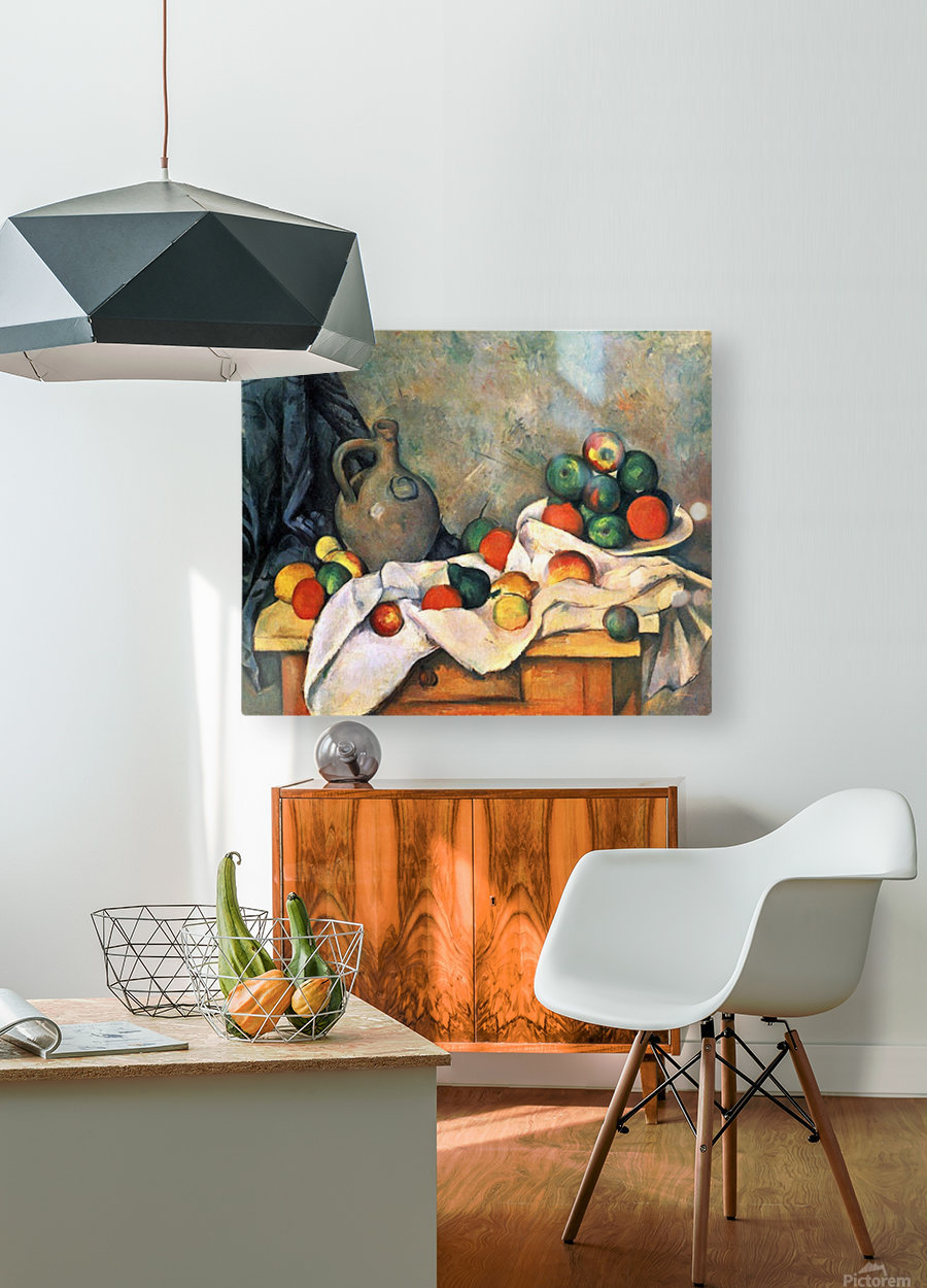 Still life, drapery, pitcher and fruit bowl by Cezanne  HD Metal print with Floating Frame on Back