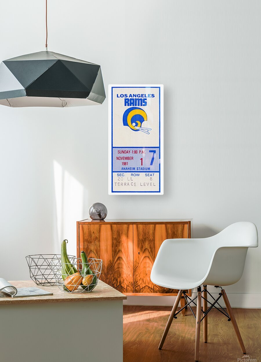 1981 Los Angeles Rams Ticket Stub Art  HD Metal print with Floating Frame on Back