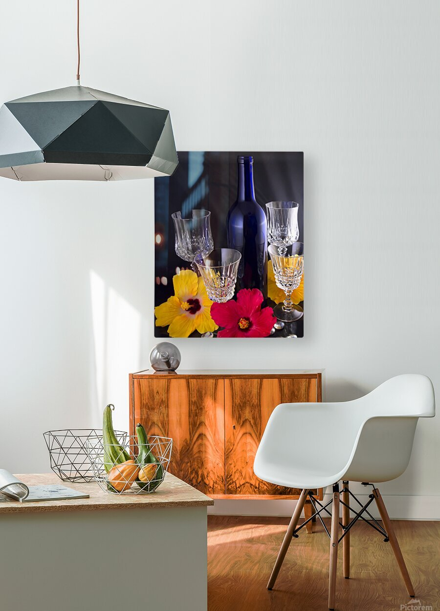 Blue Wine Bottle With Crystal and Tropical Flowers  HD Metal print with Floating Frame on Back
