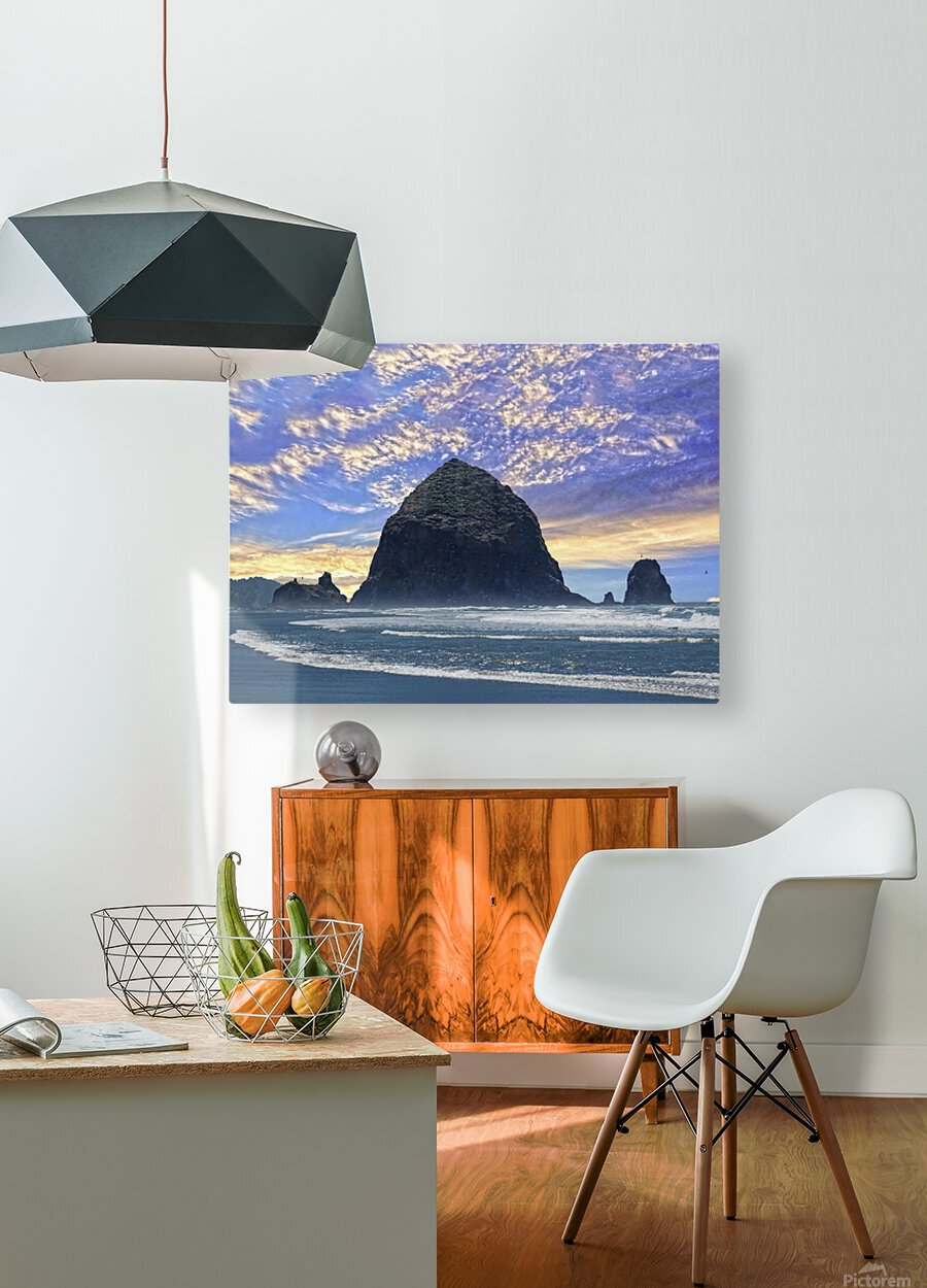 Haystack Rock at Cannon Beach  HD Metal print with Floating Frame on Back