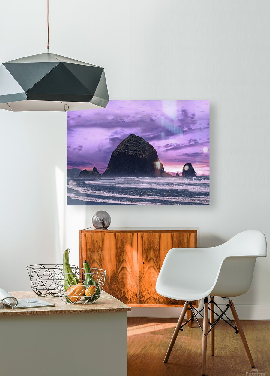Cannon Beach at Sunset  HD Metal print with Floating Frame on Back