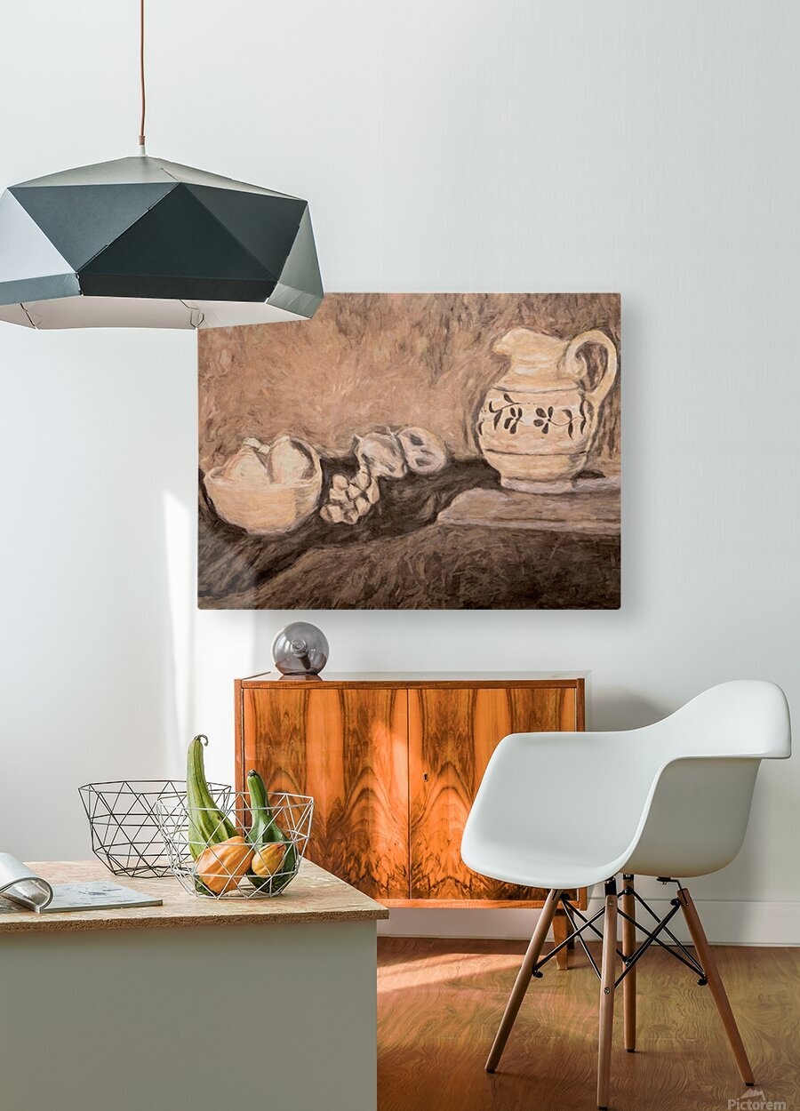 Fruit and Pitcher  HD Metal print with Floating Frame on Back