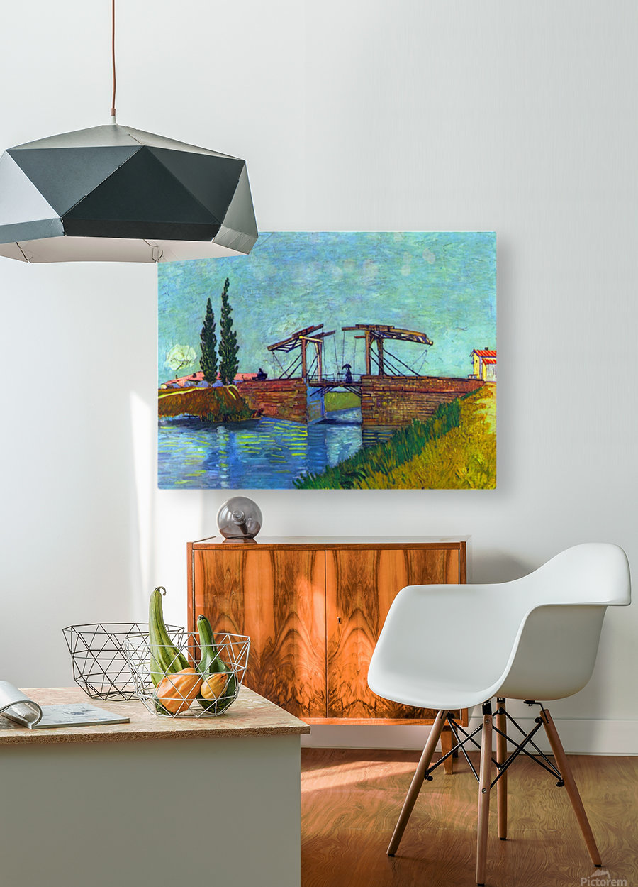 The Anglois Bridge at Arles (The drawbridge) by Van Gogh  HD Metal print with Floating Frame on Back
