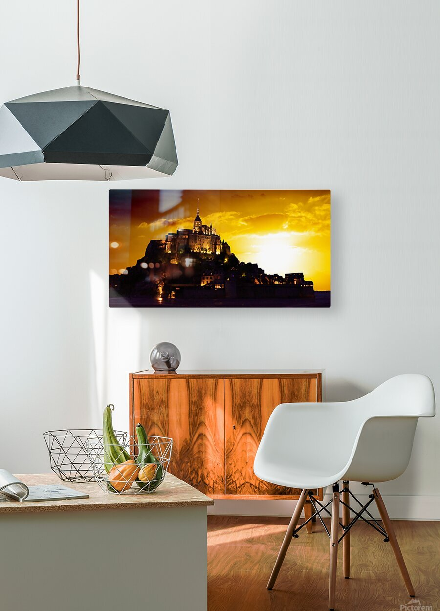 Majestic Mount Saint Michael Panorama  HD Metal print with Floating Frame on Back