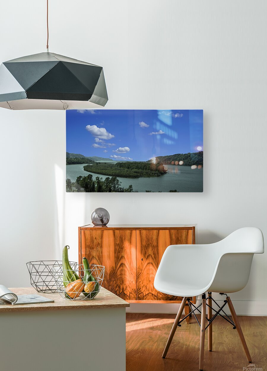 Columbia River The Gorge Oregon Panorama  HD Metal print with Floating Frame on Back