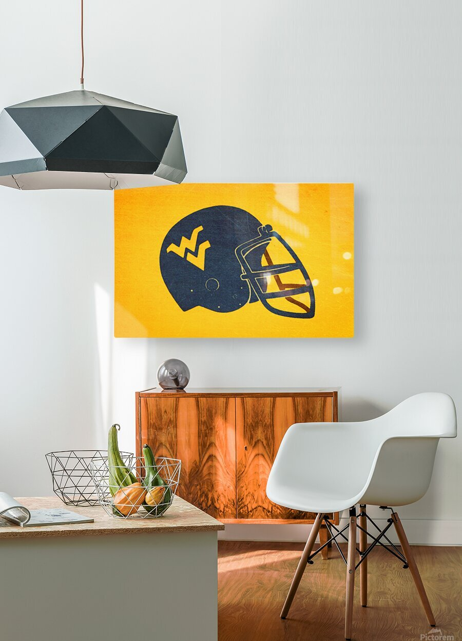 1985 West Virginia Mountaineers Football Helmet Art  HD Metal print with Floating Frame on Back