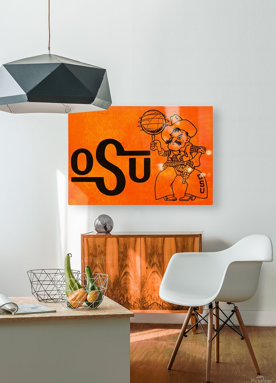 1985 Oklahoma State OSU Cowboys Pistol Pete Basketball Art  HD Metal print with Floating Frame on Back