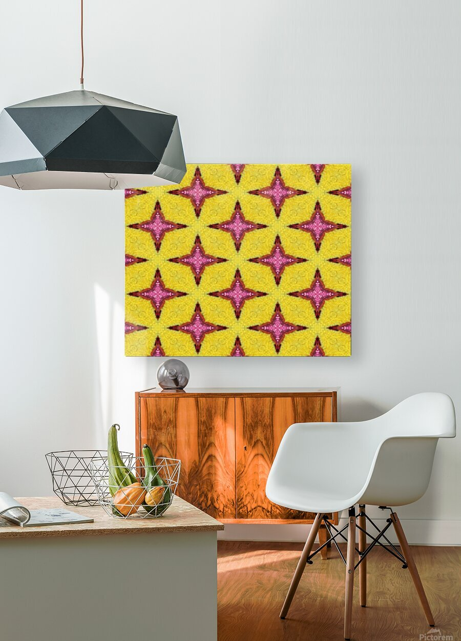 yellowpink  HD Metal print with Floating Frame on Back
