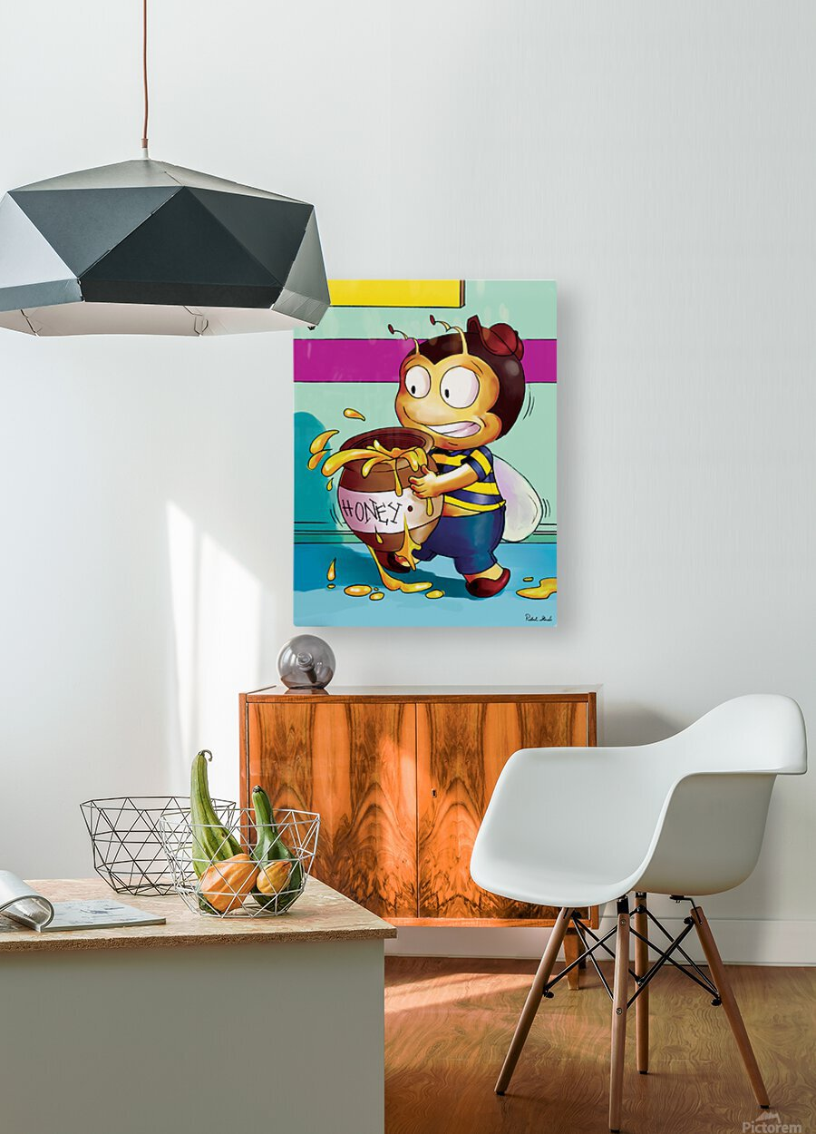 Be Careful with the Honey Buster Bee  HD Metal print with Floating Frame on Back