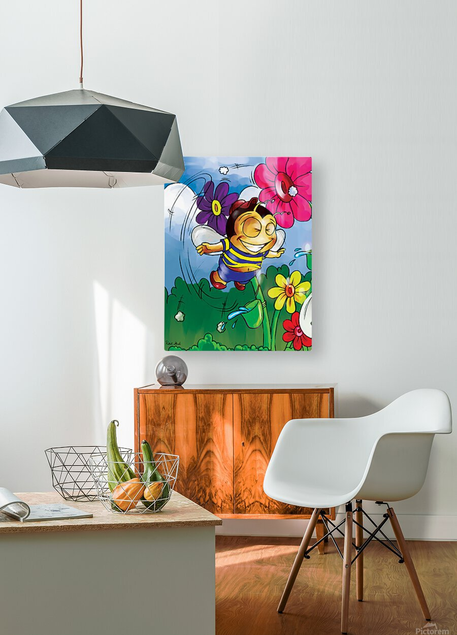 Happiness - Flower Power Buster Bee  HD Metal print with Floating Frame on Back