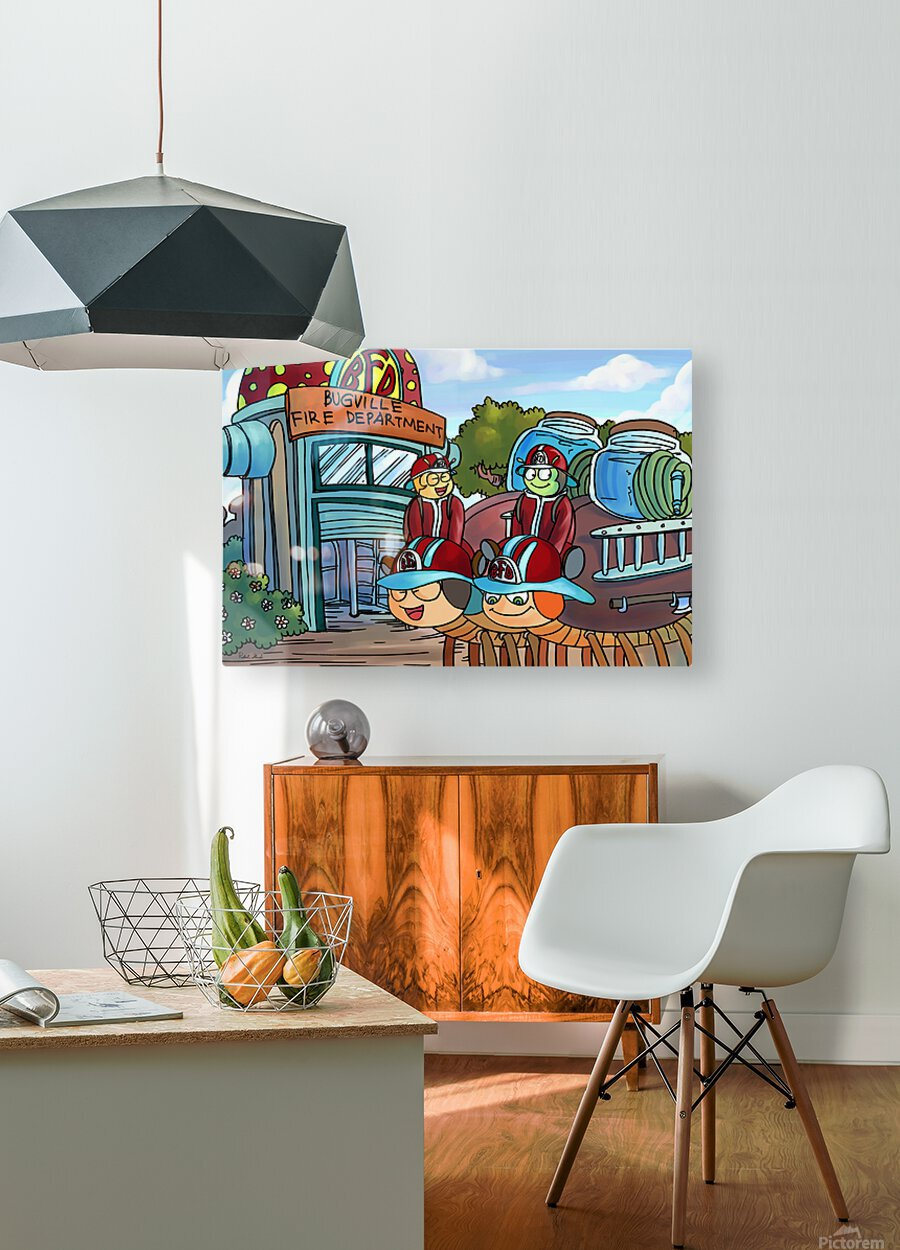 At the Fire Department - Places in Bugville Collection 2 of 4  HD Metal print with Floating Frame on Back