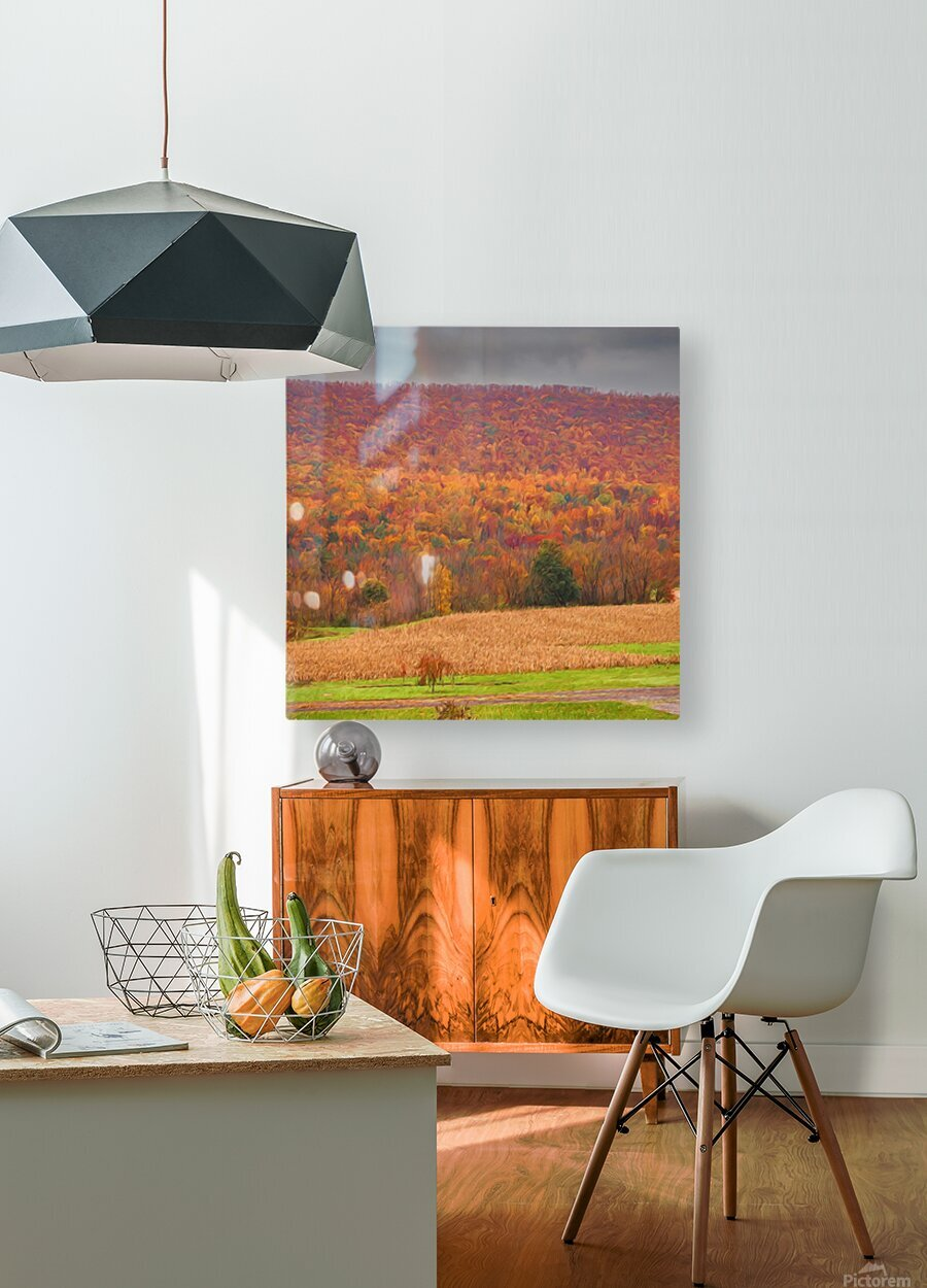 Painted Fall In The Mountains  HD Metal print with Floating Frame on Back