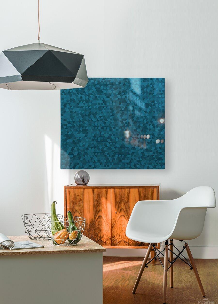 Dark Blue Glitter Pattern  HD Metal print with Floating Frame on Back