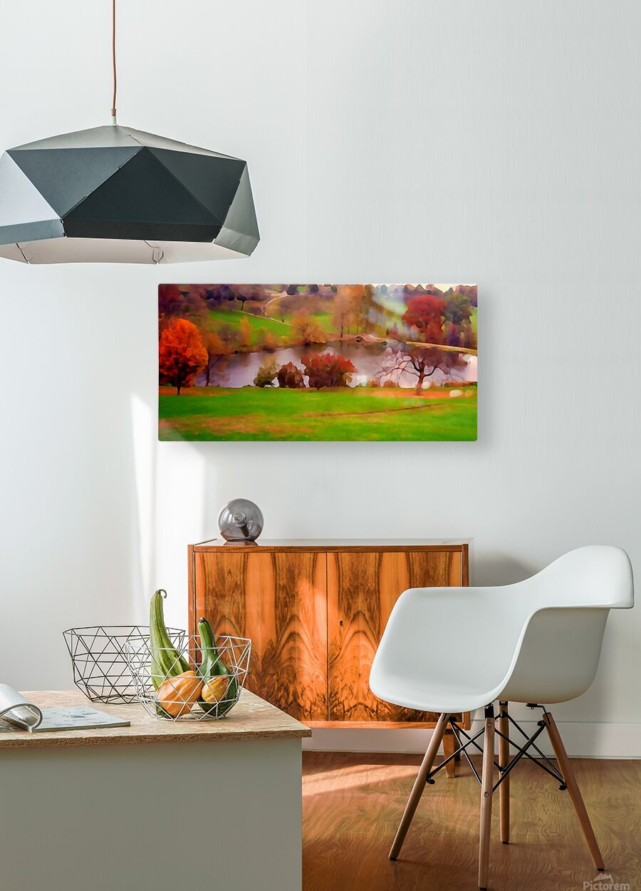 Fall Day at the University of Kansas  HD Metal print with Floating Frame on Back