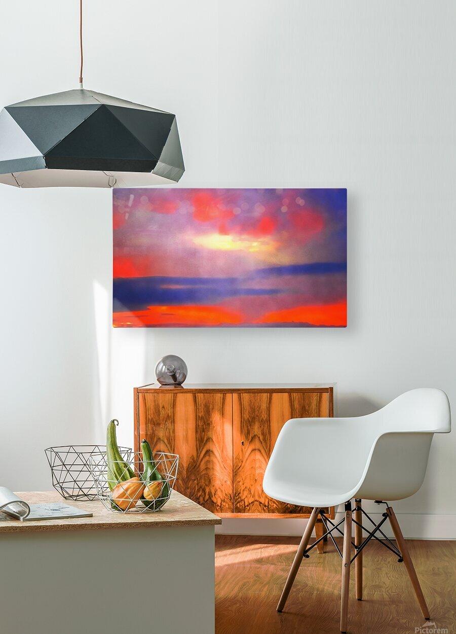 Orange Clouds  HD Metal print with Floating Frame on Back
