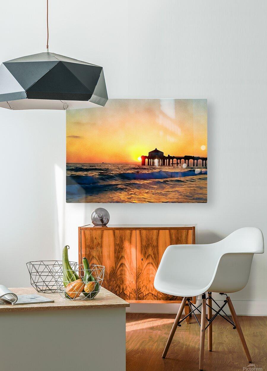 manhattan beach sunset wall art  HD Metal print with Floating Frame on Back