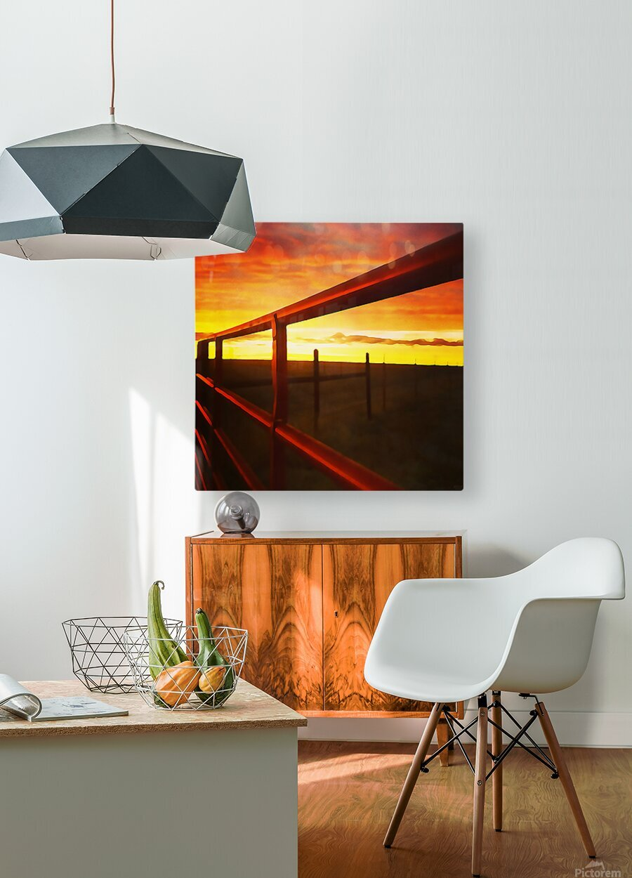 winter fence  HD Metal print with Floating Frame on Back