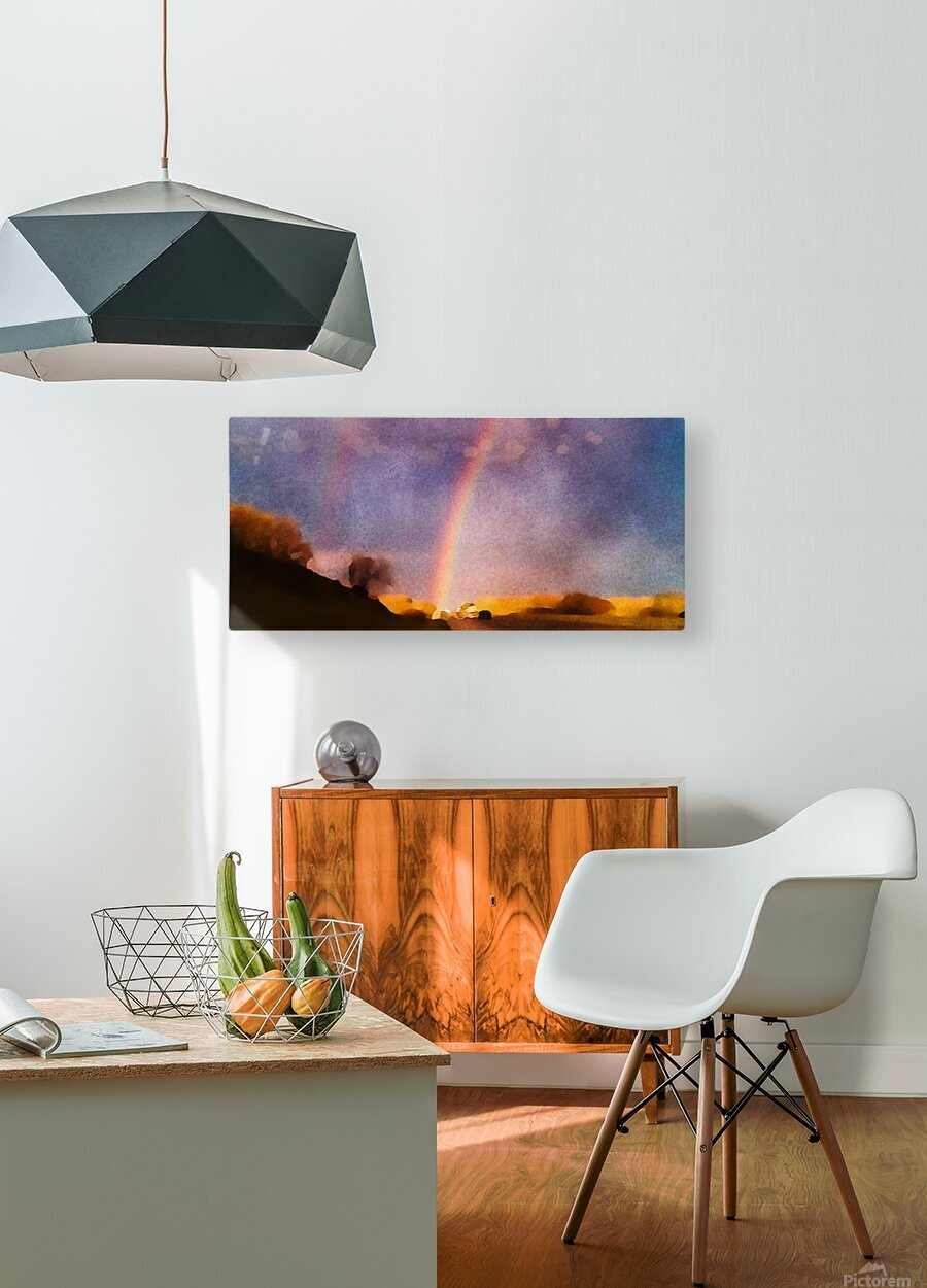 double rainbow  HD Metal print with Floating Frame on Back