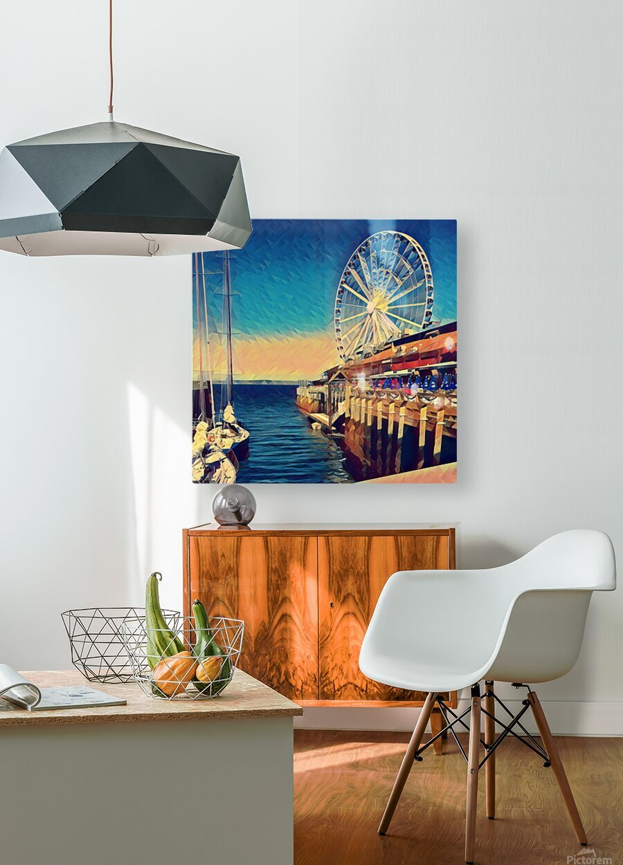 seattle great wheel  HD Metal print with Floating Frame on Back