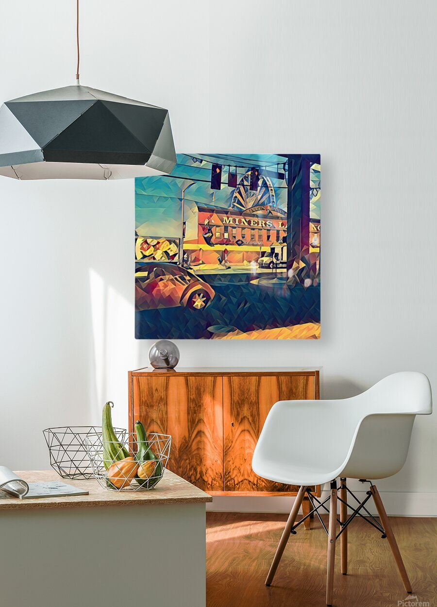 seattle great wheel art  HD Metal print with Floating Frame on Back
