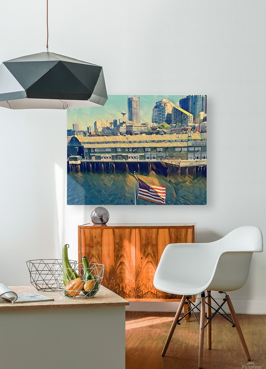seattle skyline  HD Metal print with Floating Frame on Back