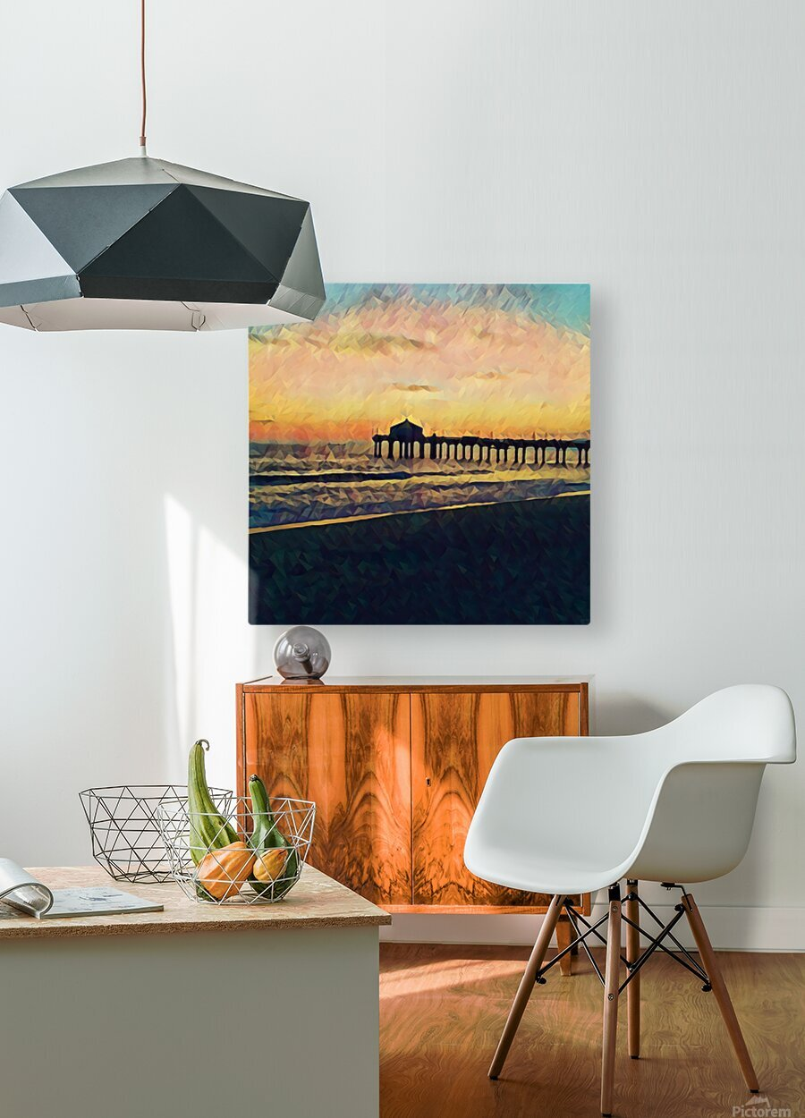 manhattan beach sunset  HD Metal print with Floating Frame on Back