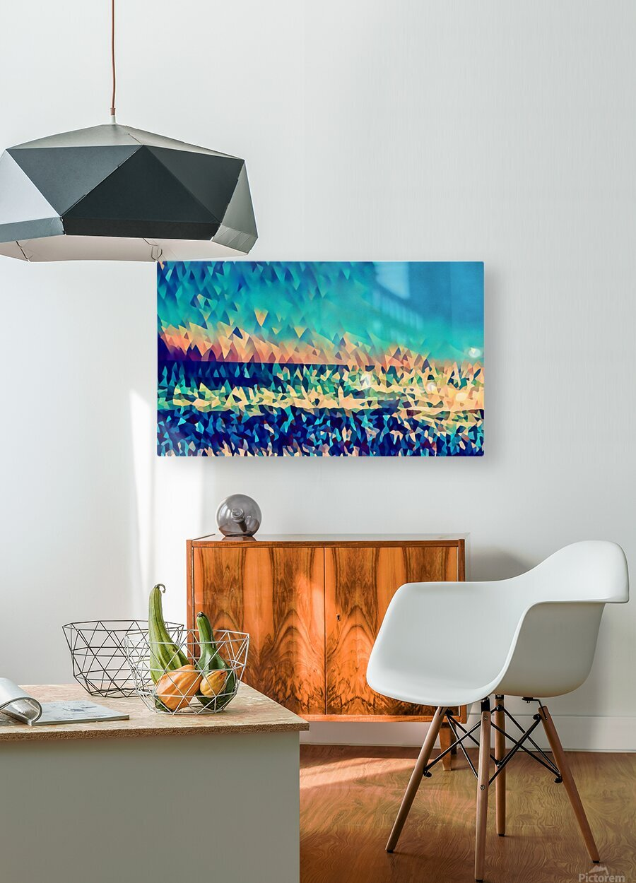 abstract blue sky ocean  HD Metal print with Floating Frame on Back
