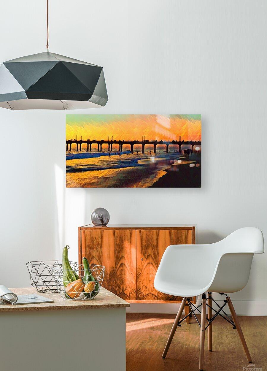 manhattan beach sunset art  HD Metal print with Floating Frame on Back