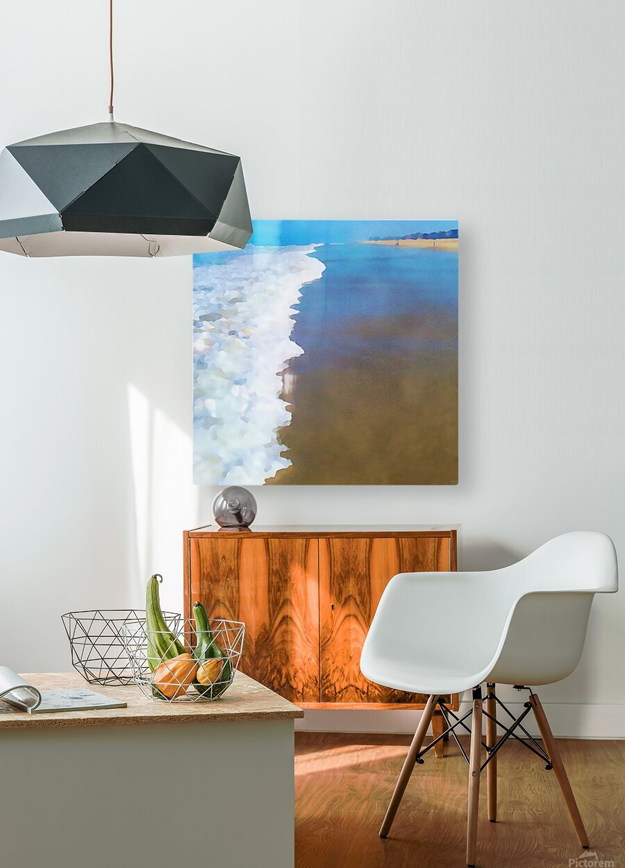 manhattan beach watercolor  HD Metal print with Floating Frame on Back