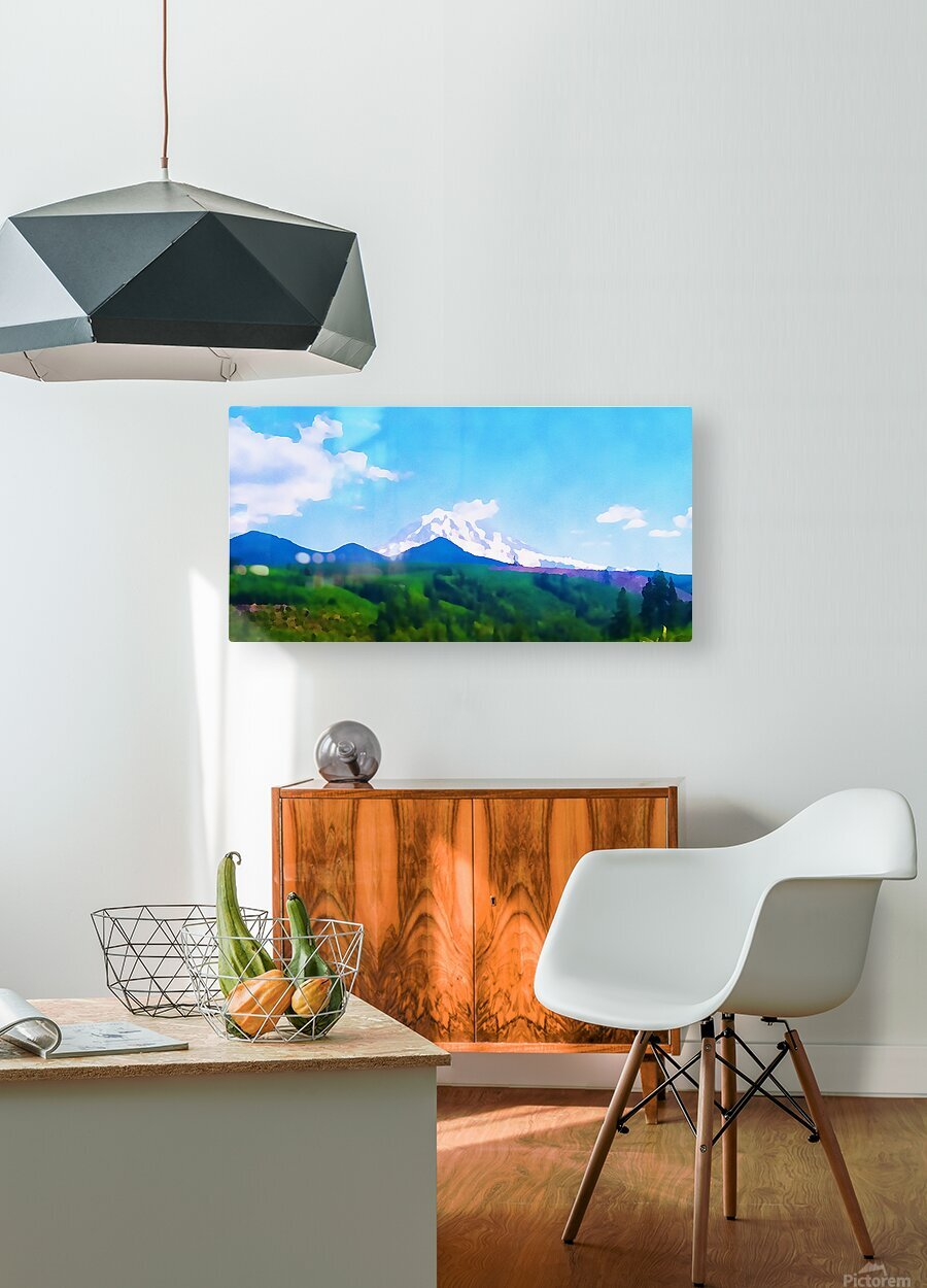 mt ranier clouds  HD Metal print with Floating Frame on Back