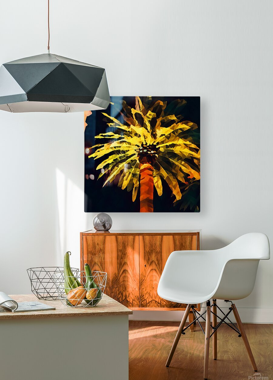 las vegas palm tree at night  HD Metal print with Floating Frame on Back