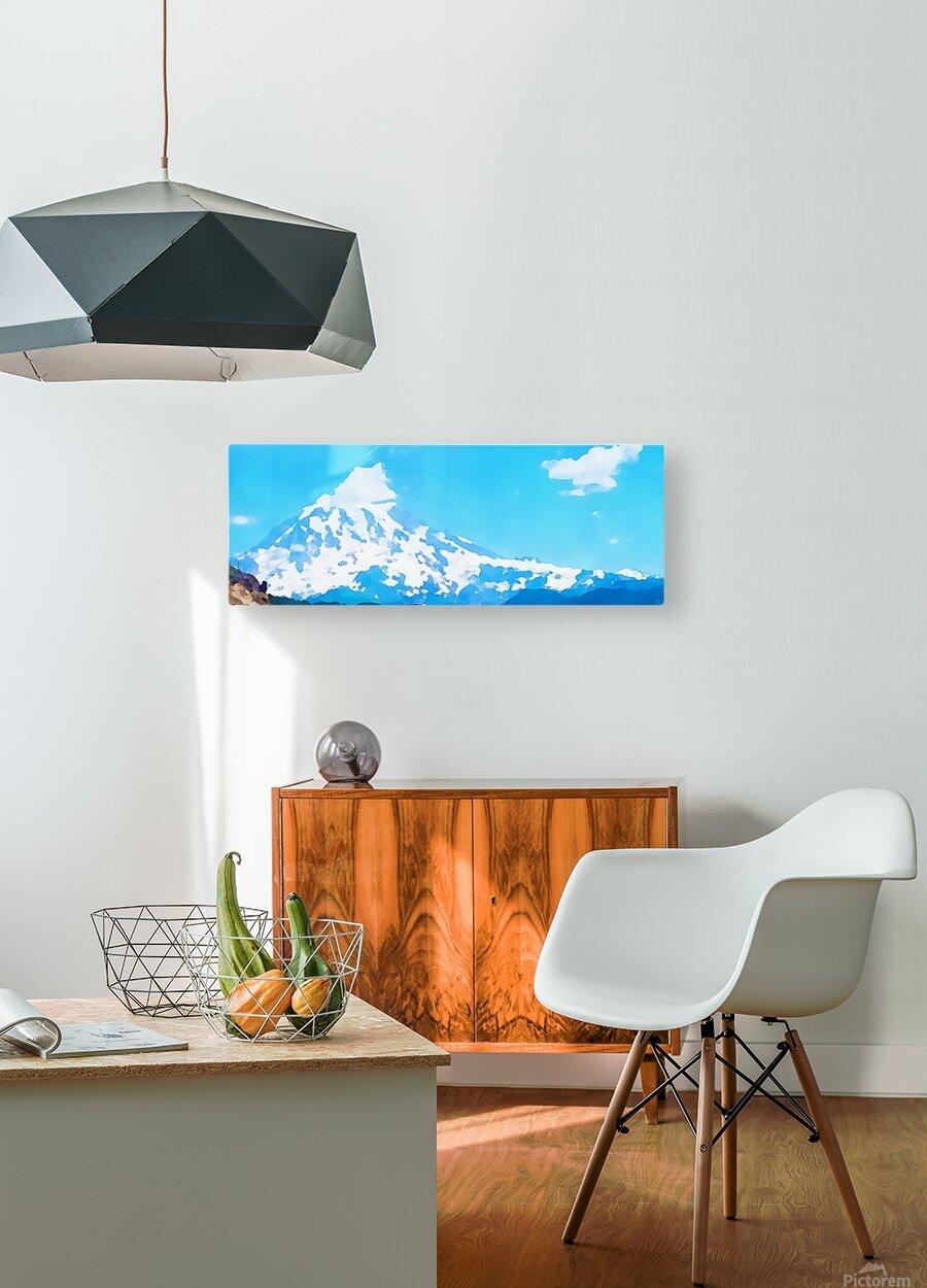 mt ranier art blue sky  HD Metal print with Floating Frame on Back