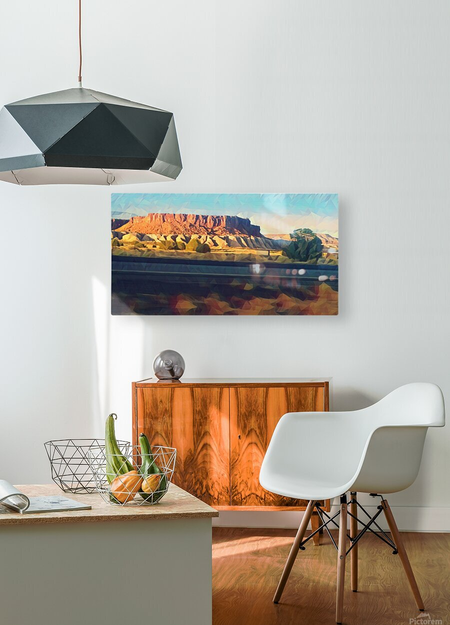 new mexico highway  HD Metal print with Floating Frame on Back