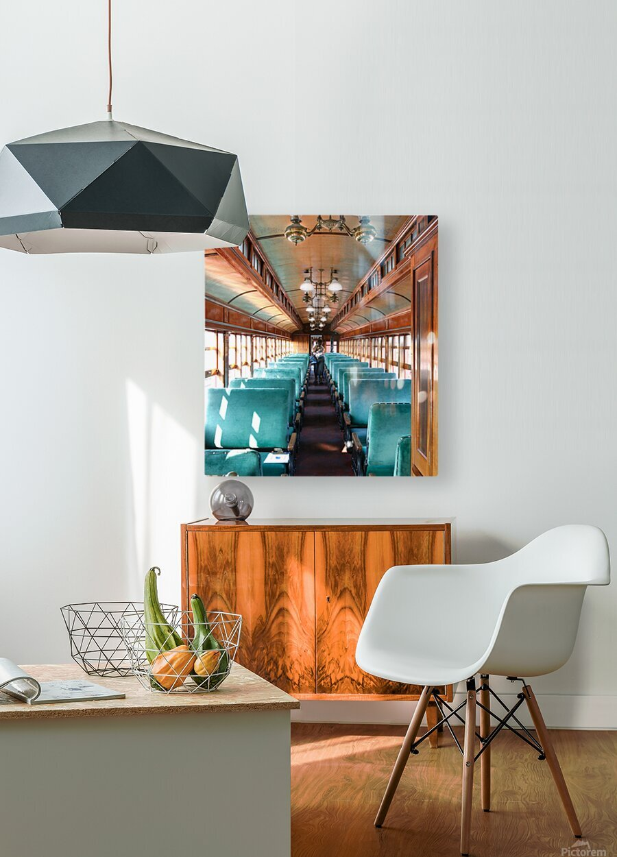 Interior of Antique Railcar.  HD Metal print with Floating Frame on Back