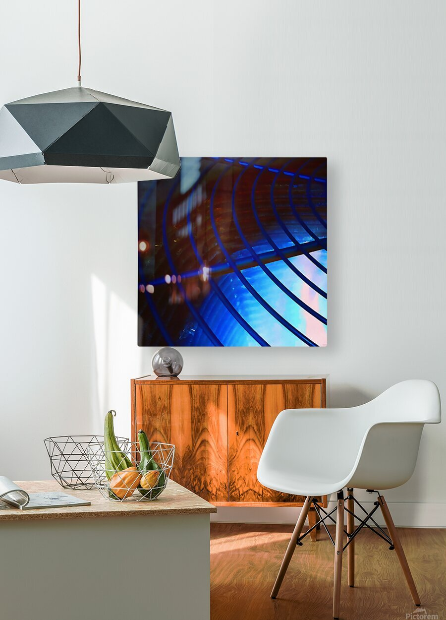 abstract blue curved lines  HD Metal print with Floating Frame on Back