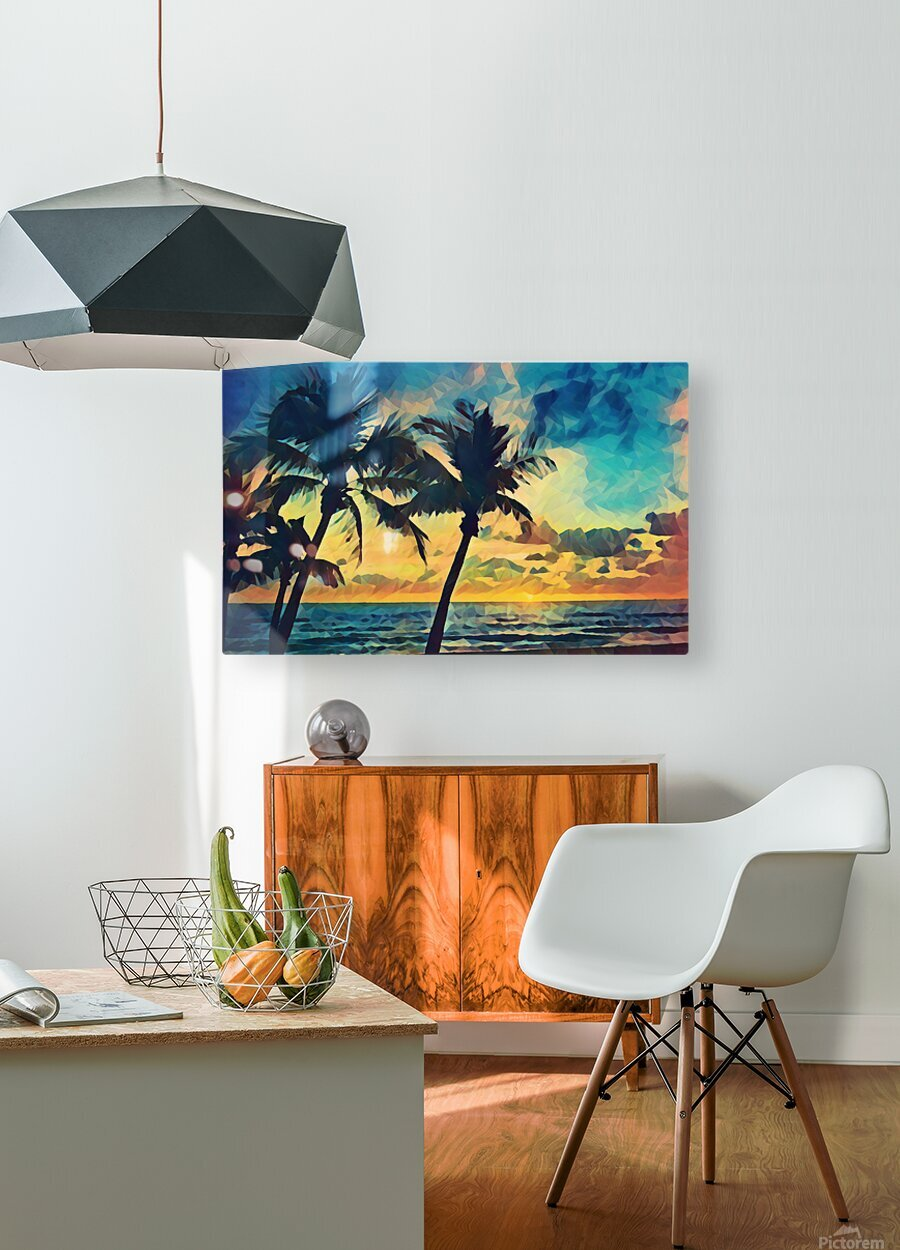 florida palm trees art  HD Metal print with Floating Frame on Back