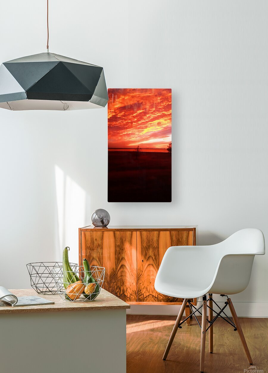 red sky  HD Metal print with Floating Frame on Back